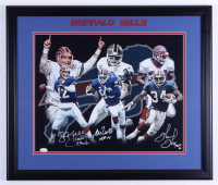 "Jim Kelly, Andre Reed & Thurman Thomas Signed Bills 22.5x26.5 Framed Photo Inscribed ""HOF 02"", ""HOF 14"", & ""HOF 07"" (JSA COA) (See Description) at PristineAuction.com"