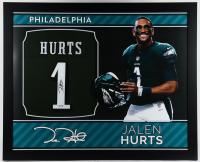 Jalen Hurts Signed 35x43 Custom Framed Jersey (PSA Hologram) (See Description) at PristineAuction.com