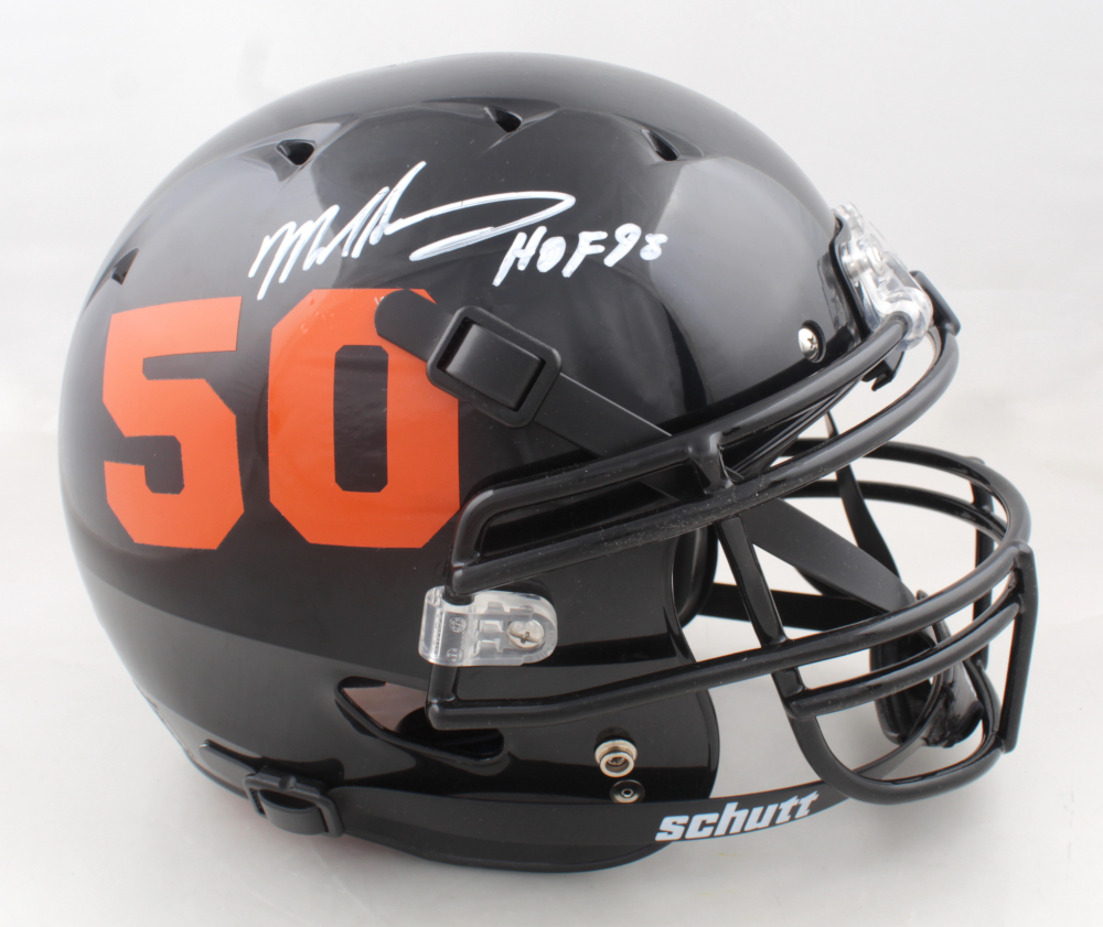 """Mike Singletary Signed Full-Size Youth Authentic On-Field Helmet Inscribed """"HOF 98"""" (Beckett COA) (See Description) at PristineAuction.com"""