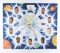 """""""Shooting Stars"""" 23.5x26.5 LE Lithograph Signed by (9) with Tim Duncan, Chauncey Billups, Keith Van Horn, Tim Thomas (PSA COA) at PristineAuction.com"""