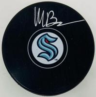 Matty Beniers Signed Kraken Logo Hockey Puck (Fanatics Hologram) at PristineAuction.com