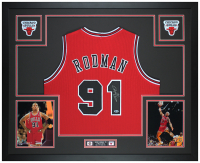 Dennis Rodman Signed 35x43 Custom Framed Jersey Display (Beckett COA) at PristineAuction.com