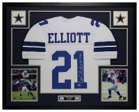 Ezekiel Elliott Signed 35x43 Custom Framed Jersey Display (Beckett COA) at PristineAuction.com