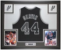 George Gervin Signed 35x43 Custom Framed Jersey Display (Beckett COA) at PristineAuction.com