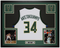 Giannis Antetokounmpo Signed 35x43 Custom Framed Jersey Display (Beckett COA) at PristineAuction.com