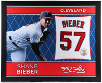 Shane Bieber Signed 35x43 Custom Framed Jersey Display (Beckett COA) (See Description) at PristineAuction.com