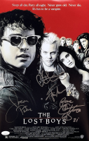 """The Lost Boys"" 11x14 Photo Signed by (4) with Keifer Sutherland, Corey Feldman, Jason Patric & Jamison Newlander Inscribed ""Peace"" (JSA COA) at PristineAuction.com"