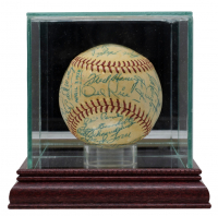 1958 Braves ONL Baseball Signed by (31) with Lew Burdette, Red Schoendienst, Frank Torre, Billy Herman, Johnny Logan, Del Crandall, Hank Aaron, Warren Spahn with Display Case (JSA LOA) at PristineAuction.com