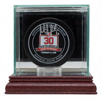 Martin Brodeur Signed Devils Jersey Retirement Hockey Puck with Display Case (Fanatics Hologram) at PristineAuction.com