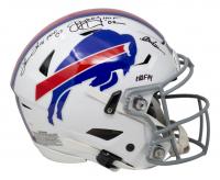 "Jim Kelly, Thurman Thomas, & Andre Reed Signed Bills Full-Size Authentic On-Field SpeedFlex Helmet Inscribed ""HOF 07"", ""HOF '02"" & ""HOF 14"" (JSA COA) at PristineAuction.com"