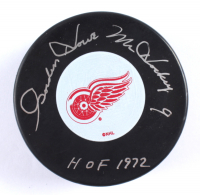 """Gordie Howe Signed Red Wings Logo Hockey Puck Inscribed """"HOF 1972"""" (PSA COA) at PristineAuction.com"""