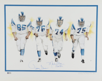 """Merlin Olsen & Rosey Grier Signed Rams """"Fearsome Foursome"""" 16x20 AP Lithograph """"HOF 82"""" (Beckett COA) at PristineAuction.com"""