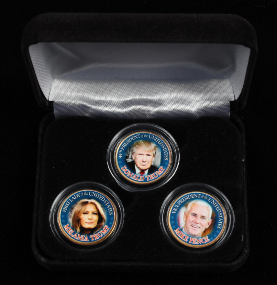 Set of (3) Colorized Gold-Plated State Quarters with Donald Trump, Melania Trump & Mike Pence at PristineAuction.com