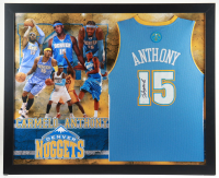 Carmelo Anthony Signed 35.5x43.5 Custom Framed Jersey Display (JSA COA) (See Description) at PristineAuction.com