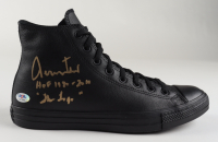 """Jerry West Signed Converse All-Star Leather Basketball Shoe Inscribed """"HOF 1980-2010"""" & """"The Logo"""" (PSA COA) at PristineAuction.com"""