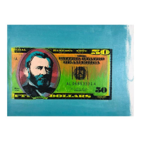 """Steve Kaufman Signed """"50 Dollar Bill"""" Limited Edition 17x23 Hand Pulled Silkscreen Mixed Media on Canvas at PristineAuction.com"""