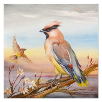 """Martin Katon Signed """"American Cedar Waxwing Couple"""" 20x20 Original Oil Painting on Canvas at PristineAuction.com"""