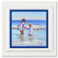 """Lucelle Raad Signed """"A Helping Hand"""" 17x17 Custom Framed Original Acrylic Painting on Board at PristineAuction.com"""