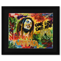 """Nastya Rovenskaya Signed """"Bob Marley"""" is the Answer"""" 26x22 Custom Framed One-of-a-Kind Mixed Media at PristineAuction.com"""