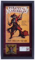 """Disneyland """"Pirates of the Caribbean"""" 15x26 Custom Framed Display with Vintage Ticket Book & Silver Pirate Emblem at PristineAuction.com"""