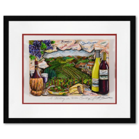"""Charles Fazzino Signed """"A Tasting in Wine Country"""" 3D Limited Edition 21x17 Custom Framed Silk Screen, DX #172/250 at PristineAuction.com"""
