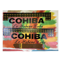 """Steve Kaufman Signed """"Cohiba"""" 50x35 Hand Pulled Unique Variation Mixed Media on Canvas #42/50 at PristineAuction.com"""