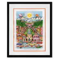 """Charles Fazzino Signed """"Perfectly Palm Beach"""" 3D Limited Edition 19x23 Custom Framed Silk Screen, DX #206/300 at PristineAuction.com"""
