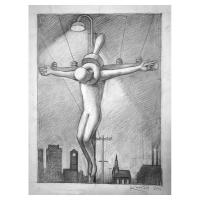 "Mark Kostabi Signed ""Metropolitan Martyr"" 13x10 Original Artwork at PristineAuction.com"