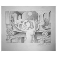 """Mark Kostabi Signed """"Auto Immortality"""" 10x12 Original Artwork at PristineAuction.com"""