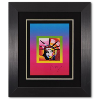 """Peter Max Signed """"Liberty Head on Blends Ver II"""" Limited Edition 27x31 Custom Framed Lithograph #445/500 at PristineAuction.com"""