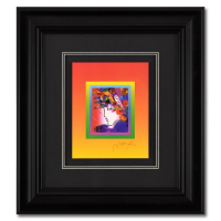 """Peter Max Signed """"Blushing Beauty on Blends"""" Limited Edition 25x27 Custom Framed Lithograph #445/500 at PristineAuction.com"""