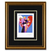 """Peter Max Signed """"Blue Angel with Heart"""" Limited Edition 19x22 Custom Framed Lithograph #492/500 at PristineAuction.com"""