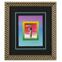 """Peter Max Signed """"Sage with Umbrella and Cane on Blends"""" Limited Edition 21x24 Custom Framed Lithograph #498/500 at PristineAuction.com"""
