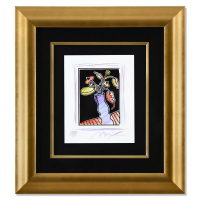 """Peter Max Signed """"Vase of Flowers I"""" 16x18 Custom Framed One-of-a-Kind Mixed Media at PristineAuction.com"""