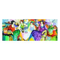 "Patricia Govezensky Signed ""Party"" 20x52 Original Watercolor at PristineAuction.com"