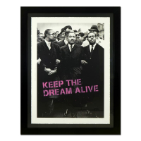 """Mr. Brainwash Signed """"Keep the Dream Alive (Pink)"""" Limited Edition 55x43 Custom Framed Silk Screen # 3/5 at PristineAuction.com"""