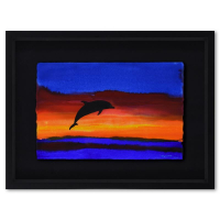 """Wyland Signed """"Sea 9"""" 33x25 Custom Framed Original Watercolor Painting at PristineAuction.com"""
