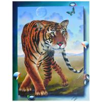 """Ferjo Signed """"Tiger"""" 40x30 Original Painting on Canvas at PristineAuction.com"""