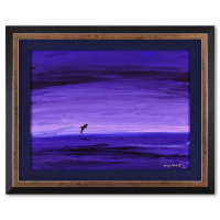 """Wyland Signed """"Dolphin"""" 30x25 Custom Framed Original Painting on Canvas at PristineAuction.com"""