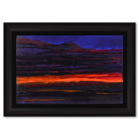 """Wyland Signed """"Abstract 2"""" 51x37 Custom Framed Original Watercolor Painting at PristineAuction.com"""