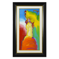 """Peter Max Signed """"Statue of Liberty"""" 28x46 Custom Framed One-Of-A-Kind Acrylic Mixed Media at PristineAuction.com"""