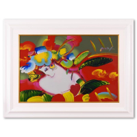 """Peter Max Signed """"Kentucky Oaks"""" 47x35 Custom Framed One-of-a-Kind Acrylic Mixed Media at PristineAuction.com"""