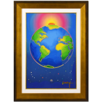 """Peter Max Signed """"The State of the World"""" 34x46 Custom Framed One-Of-A-Kind Acrylic Mixed Media at PristineAuction.com"""