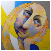 """Berberyan Signed """"OMG"""" 48x48 Original Painting on Canvas at PristineAuction.com"""