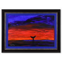 """Wyland Signed """"Whale Tail"""" 47x35 Custom Framed Original Painting on Canvas at PristineAuction.com"""