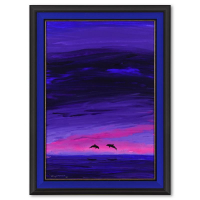 """Wyland Signed """"Two Dolphins"""" 33x45 Custom Framed Original Painting on Canvas at PristineAuction.com"""