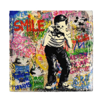 """Mr. Brainwash Signed """"Smile"""" 22x22 Silkscreen Overpaint #1/1 at PristineAuction.com"""