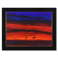 """Wyland Signed """"Whale Tail"""" 58x46 Custom Framed Original Painting on Canvas at PristineAuction.com"""