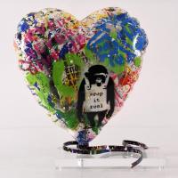 "Mr. Brainwash Signed ""Balloon Heart"" 14x15 Original Mixed Media Sculpture at PristineAuction.com"