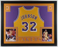 Magic Johnson Signed 35.5x43.5 Custom Framed Jersey Display (Beckett COA) at PristineAuction.com